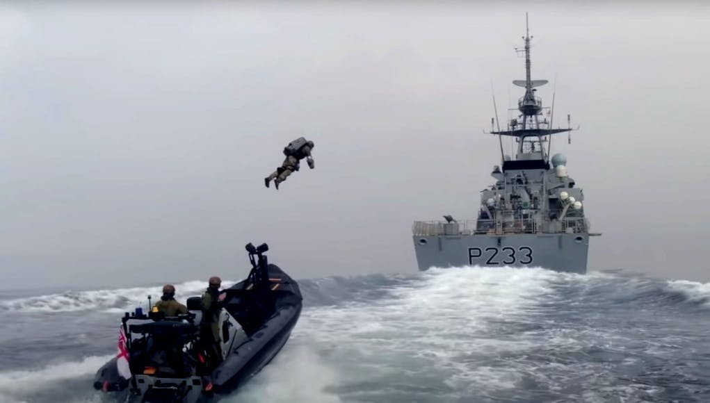WATCH: British Royal Navy Helps Test JET SUITS Over Water